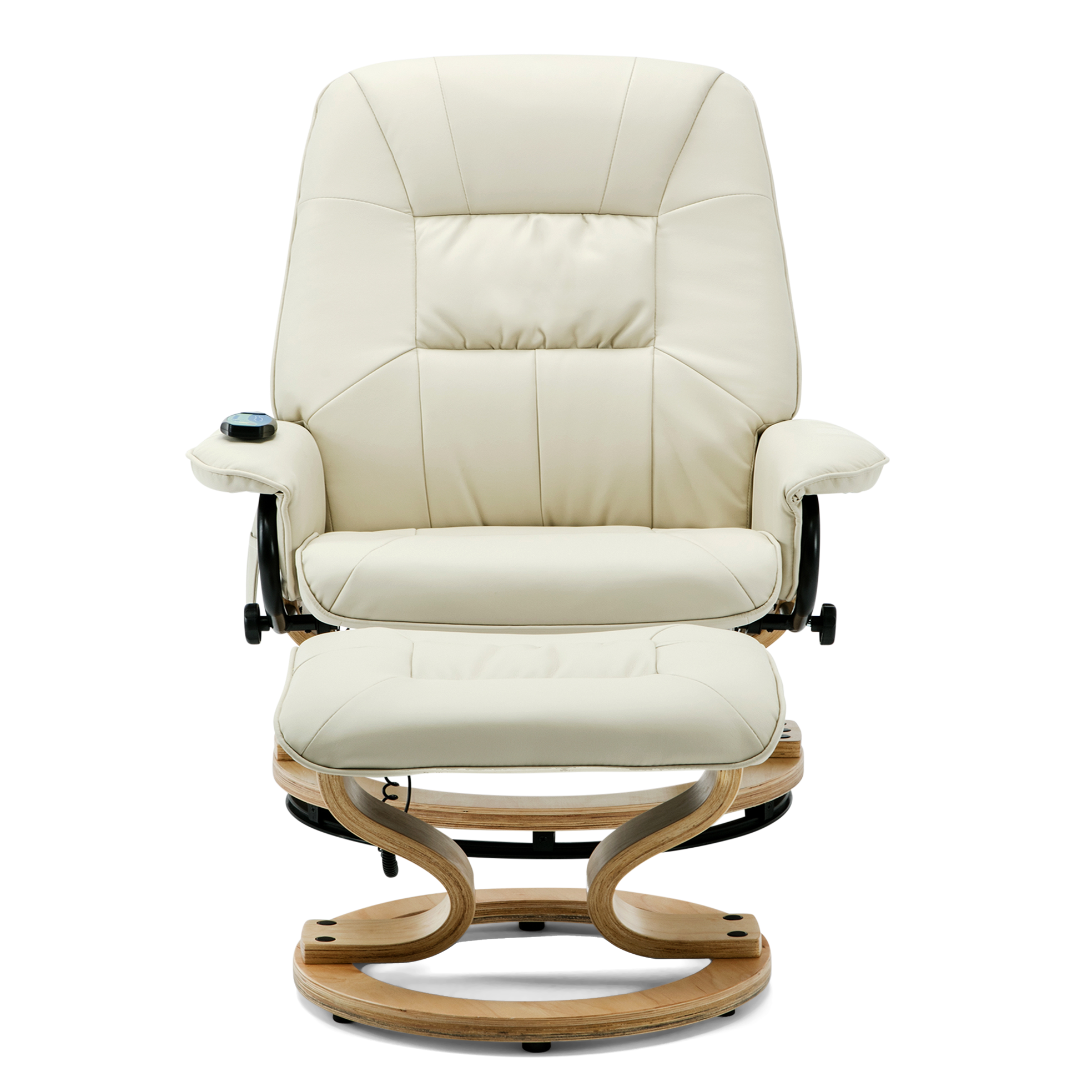Tilbury Leather Swivel Recliner Chair With Foot Stool In Cream