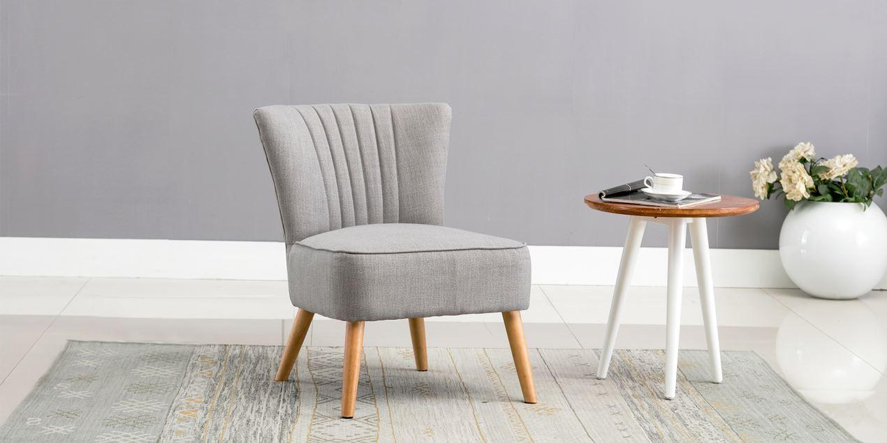 Annika Accent Chair In Grey Linen