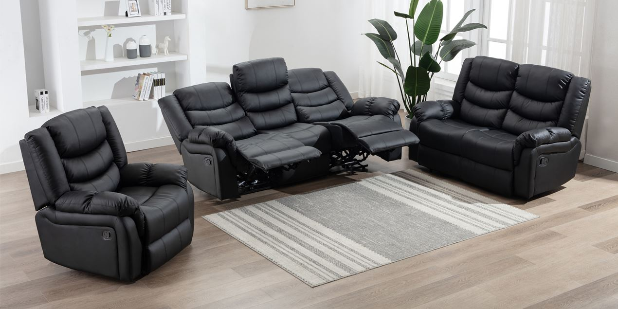 Cheshire Manual 3 Seater Leather Recliner Sofa in Black IMG