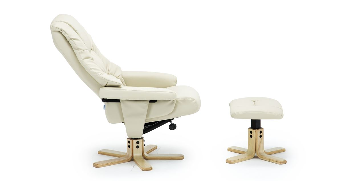 Picture of: Berkeley Leather Swivel Recliner Chair With Foot Stool In Cream