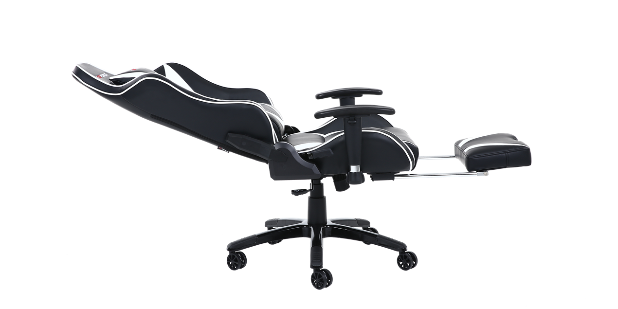 GTForce Formula MX Gaming Chair with Recline and Footrest in Black and White IMG