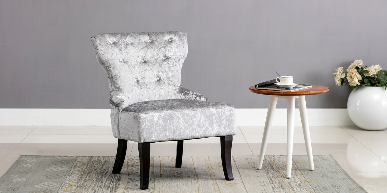 Reyna Accent Chair In Silver Crushed Velvet IMG