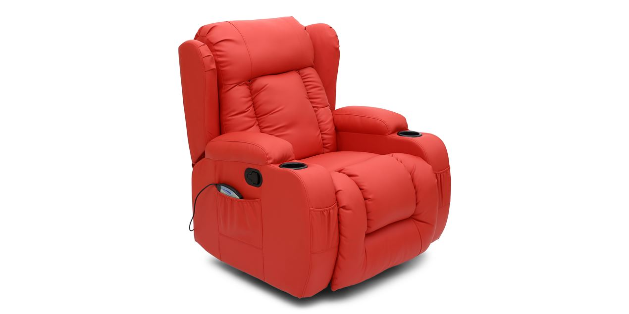 Rockingham Leather Swivel Recliner Chair with Massage and Heat in Red