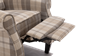 Eden Fabric Recliner Armchair in Beige Tartan Image 4