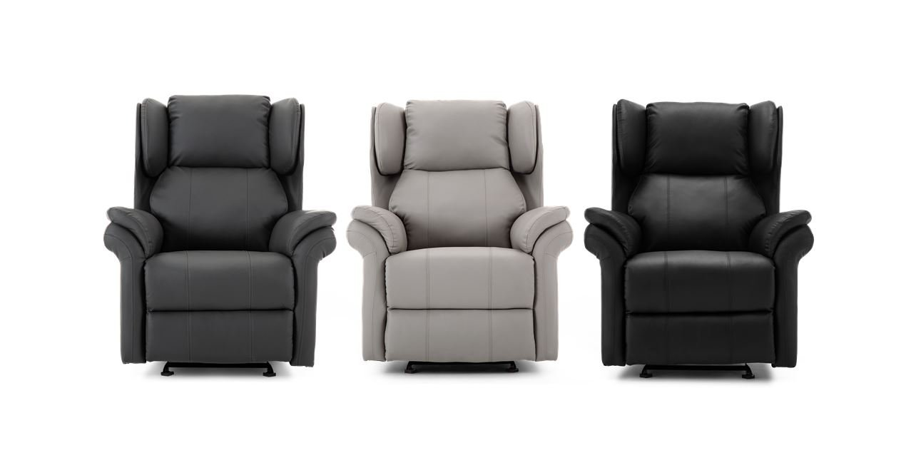 Oakley Leather Manual Rocking Recliner Chair In Black
