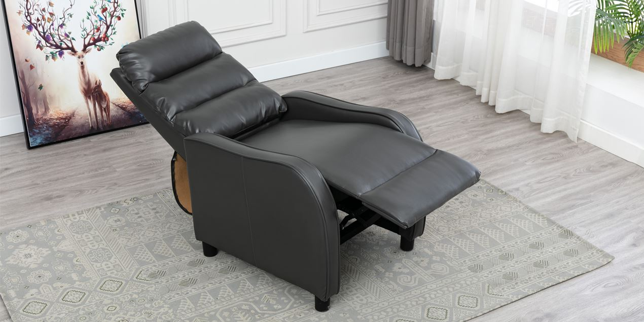 Selby Leather Push Back Recliner Chair in Grey IMG