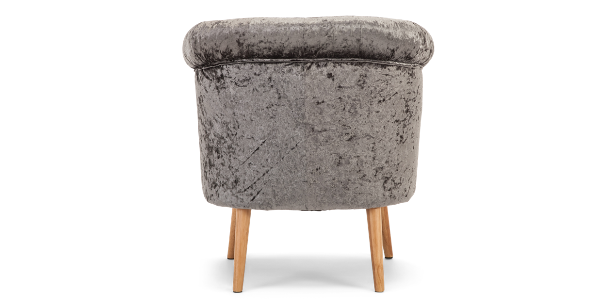 Darleya Accent Chair In Grey Crushed Velvet