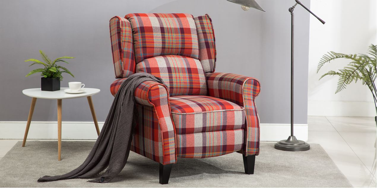 Eden Fabric Recliner Armchair In Red Tartan