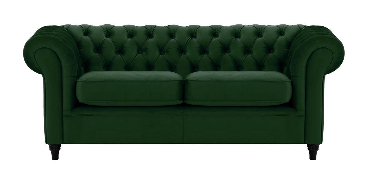 Chesterfield 3 Seater Velvet Sofa In Forest Green