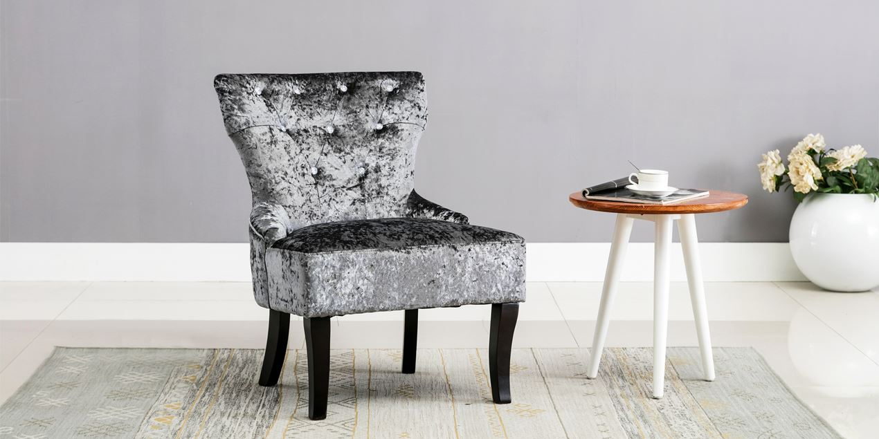 Reyna Accent Chair In Grey Crushed Velvet