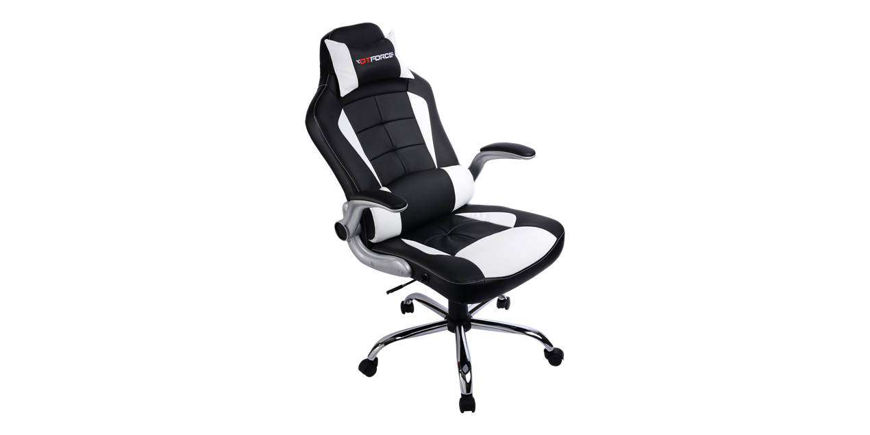 GTForce Blaze Gaming Chair with Recline in Black and White IMG