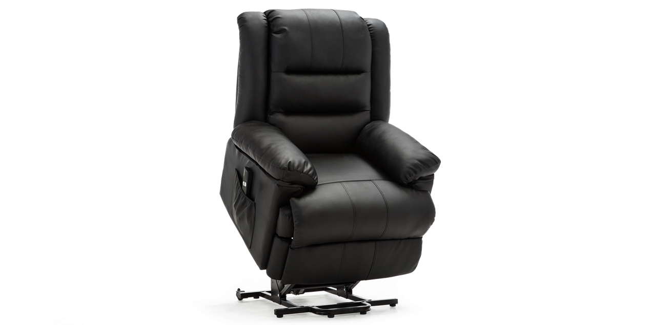 Wilson Rise Recliner Leather Chair in Black IMG