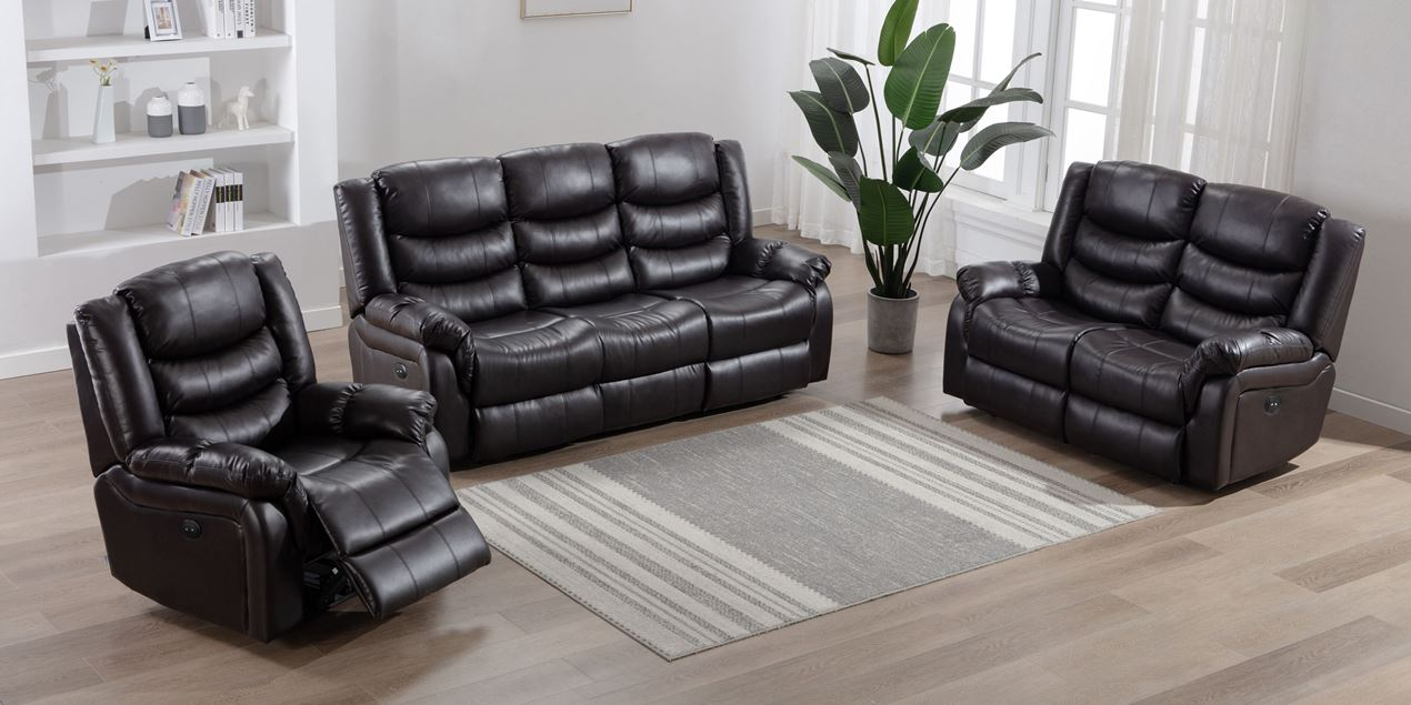 Cheshire Electric 3 Seater Leather Recliner Sofa in Brown IMG