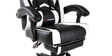GTForce Turbo Gaming Chair with Recline and Footrest in Black and White Image 3