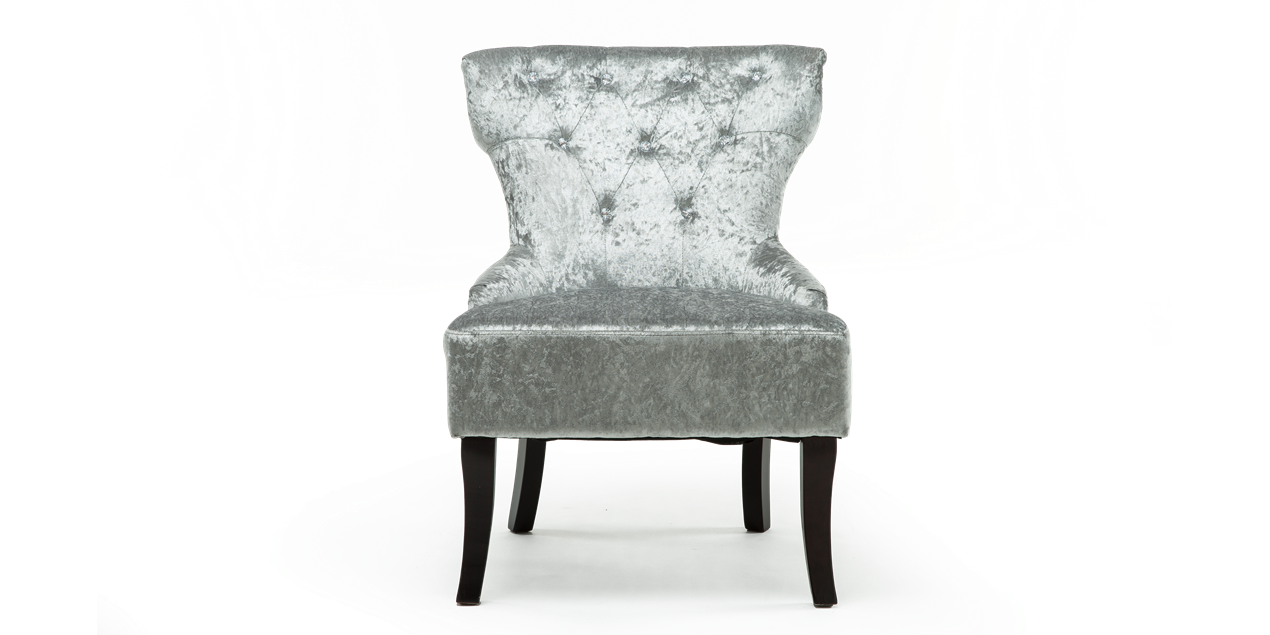Reyna Accent Chair In Silver Crushed Velvet