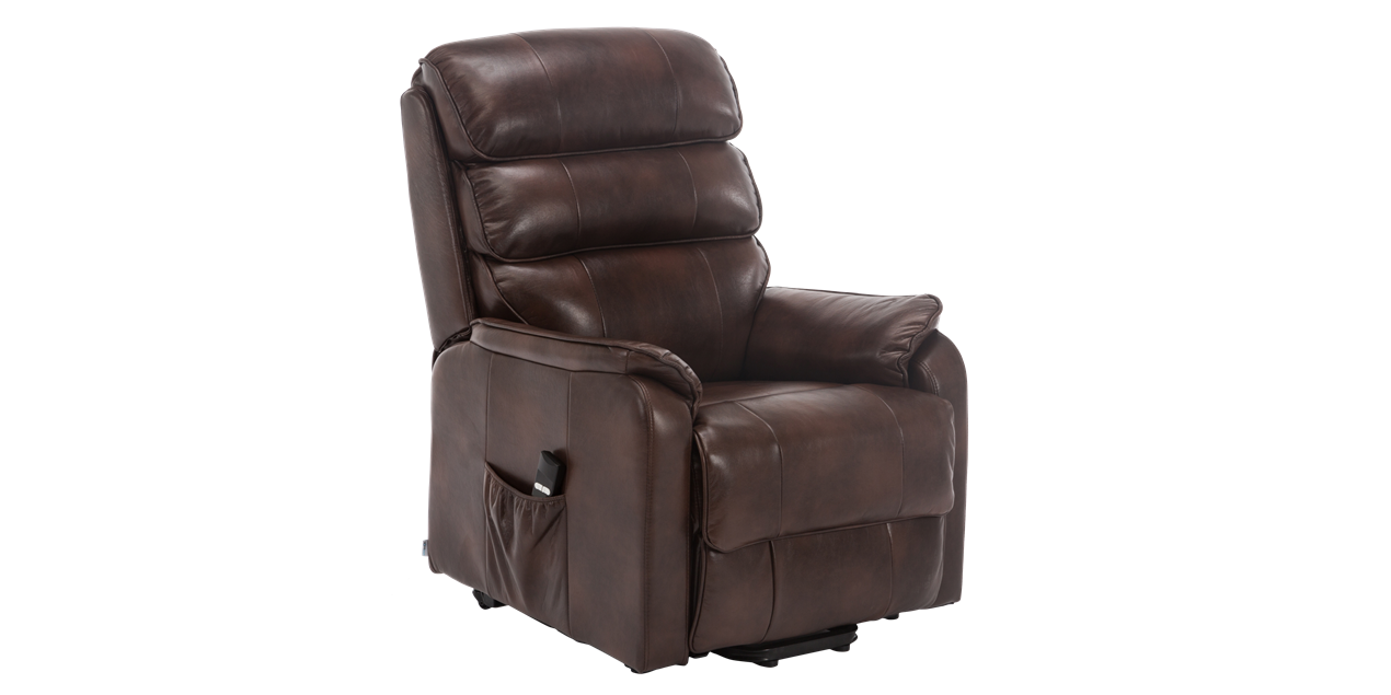 Marlow Leather Rise Recliner Chair in Brown IMG