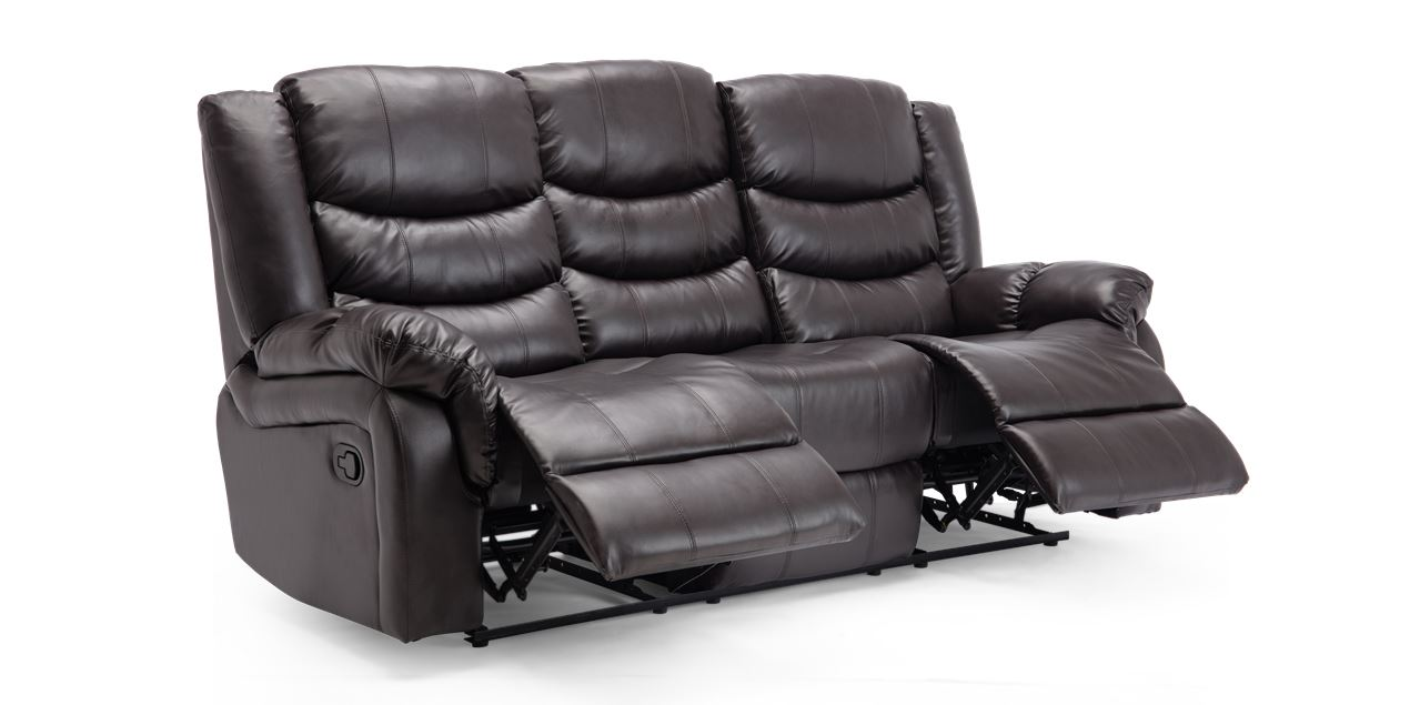 Cheshire Manual 3 Seater Leather Recliner Sofa in Brown IMG