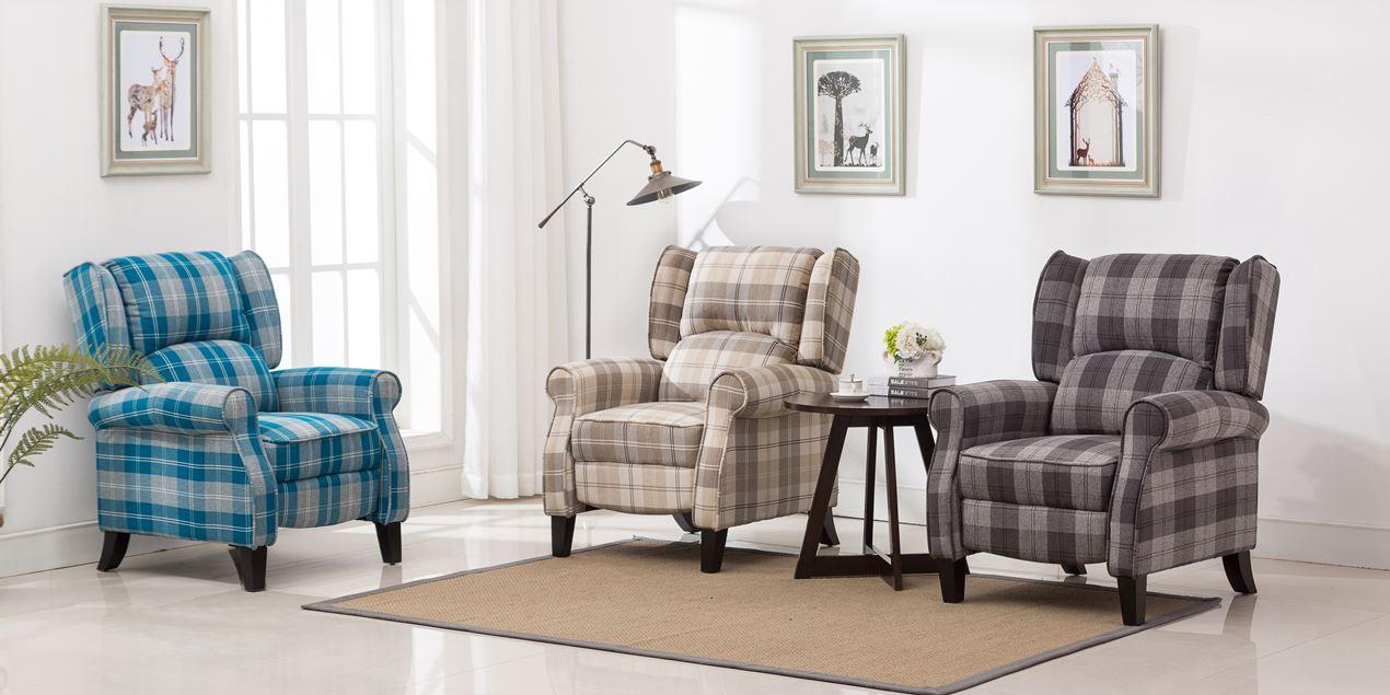 Eden Fabric Recliner Armchair in Grey Tartan