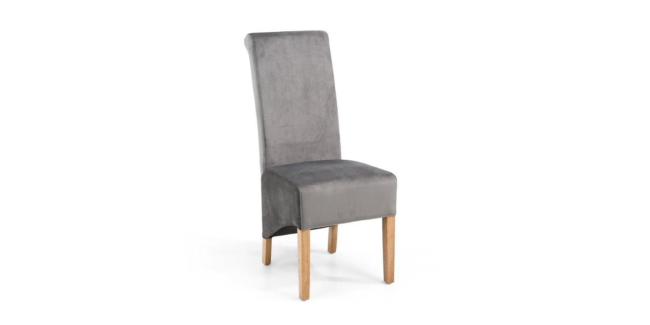Rauma Roll Back Brushed Velvet Grey Dining Chair (SET OF 2) IMG