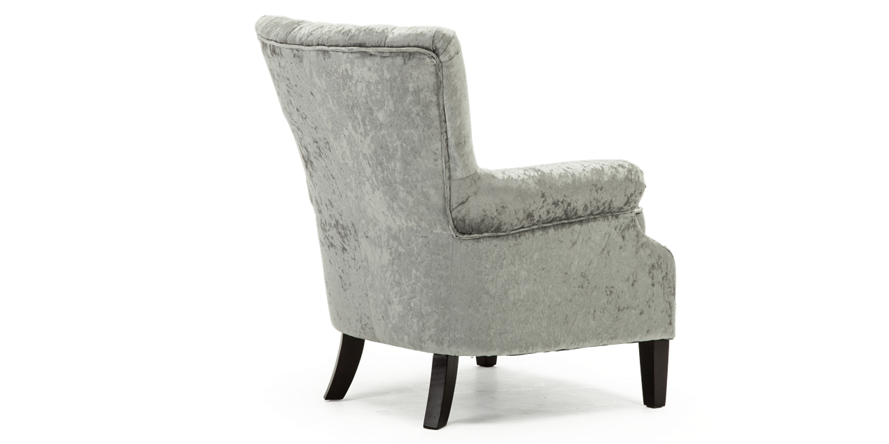 Orlenca Accent Chair In Silver Crushed Velvet