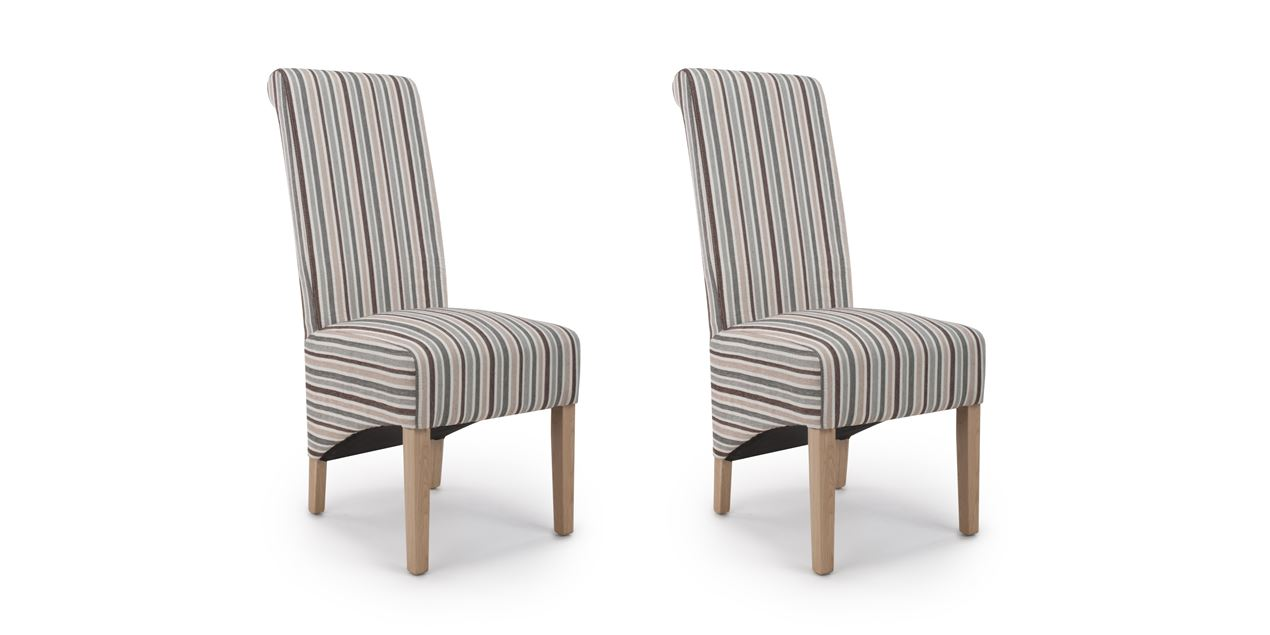 Rauma Roll Back Chenille Stripe Duck Egg Blue Dining Chair (SET OF 2) IMG