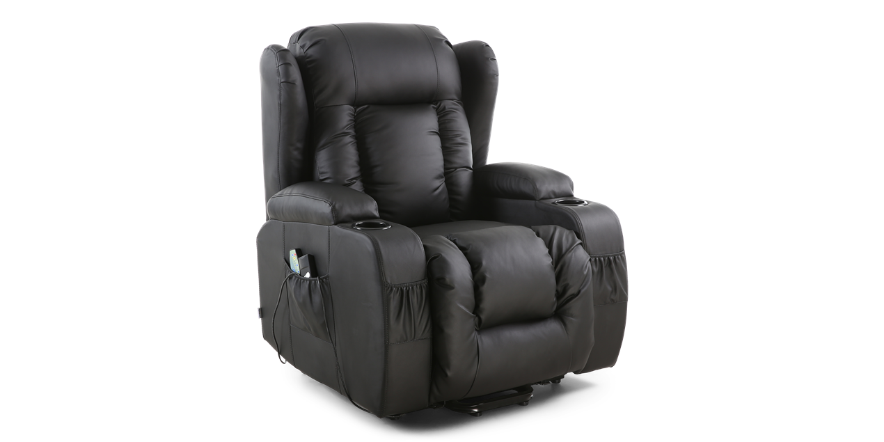 Caesar Rise Recliner Chair With Massage And Heat In Black IMG 0 (1270 X 635