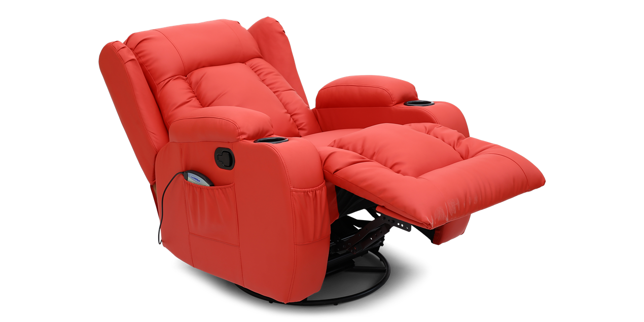 Rockingham Leather Swivel Recliner Chair With Massage And