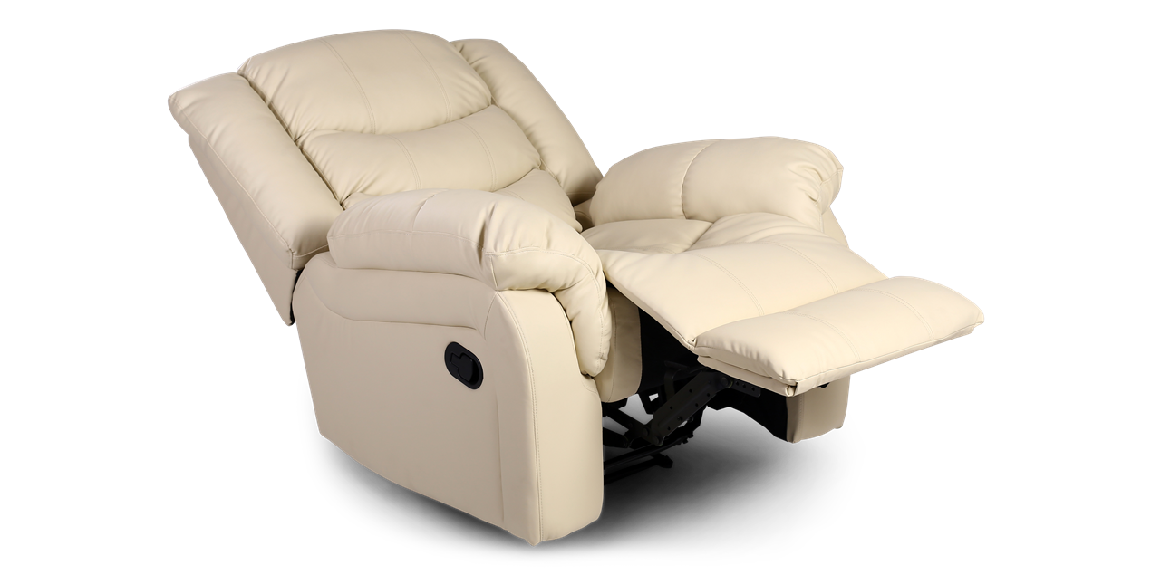 Cheshire Leather Manual Recliner Chair In Cream