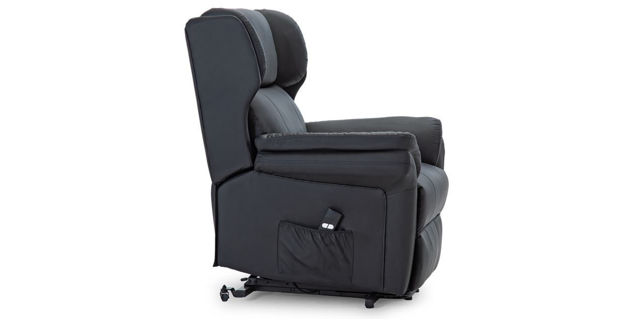 Oakley Leather Electric Rise Recliner Chair in Black IMG