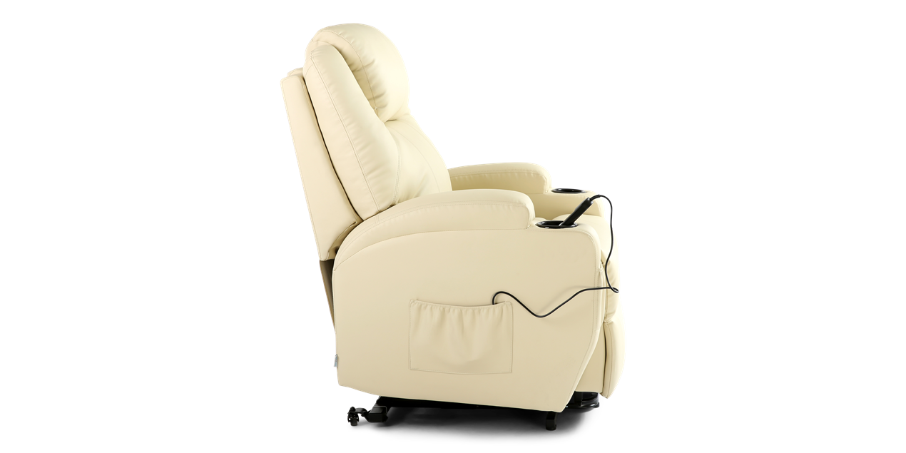 Cinemax Leather Rise Recliner Chair with Massage and Heat in Cream IMG