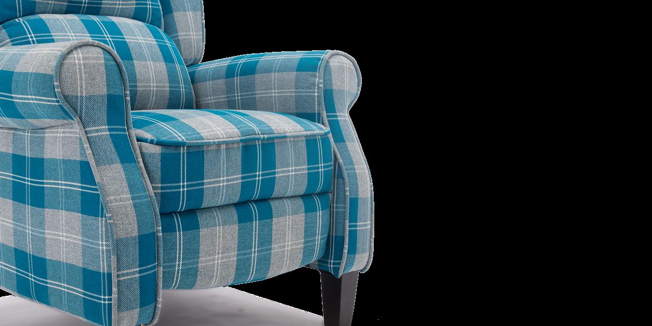 Eden Fabric Recliner Armchair In Blue Tartan