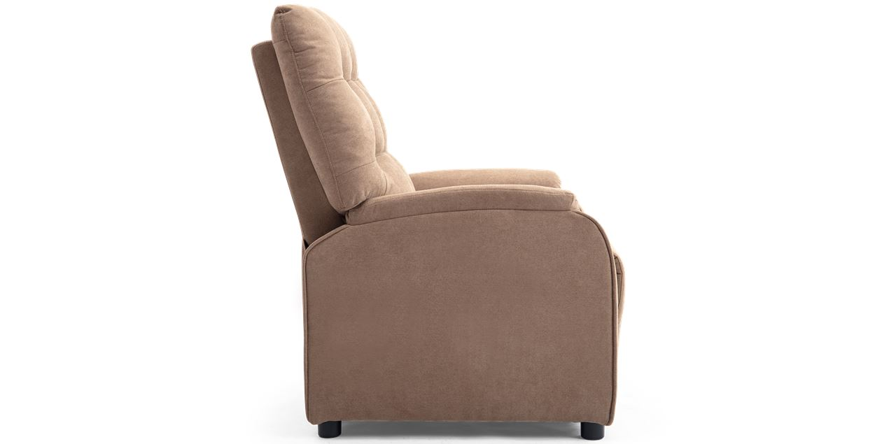 Charlton Fabric Pushback Recliner Armchair in Stone Brown IMG