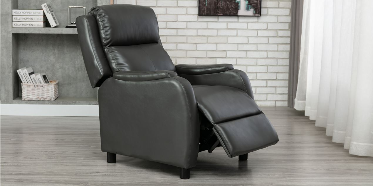 Churwell Leather Push Back Recliner Chair in Grey IMG
