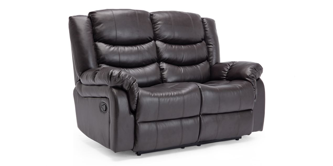 Cheshire Manual 2 Seater Leather Recliner Sofa in Brown IMG