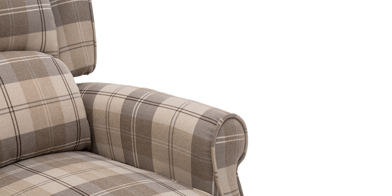 Eden Fabric Recliner Armchair in Beige Tartan IMG