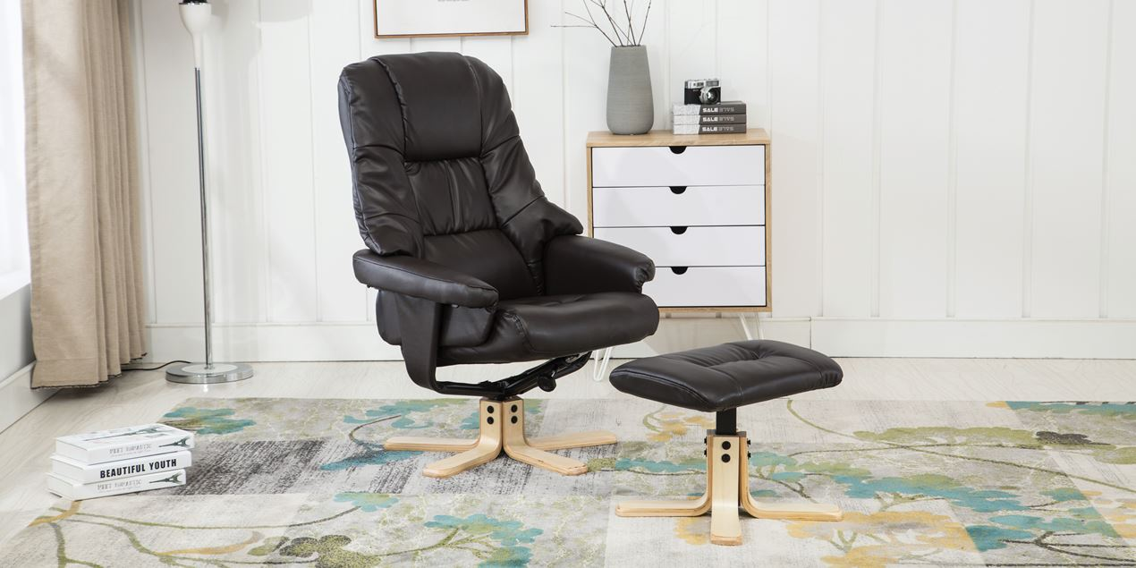 Berkeley Leather Swivel Recliner Chair With Foot Stool In