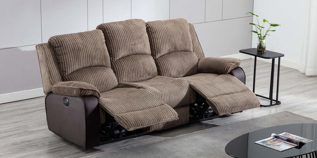 Keston Electric 3 Seater Recliner Sofa In Brown Jumbo Cord