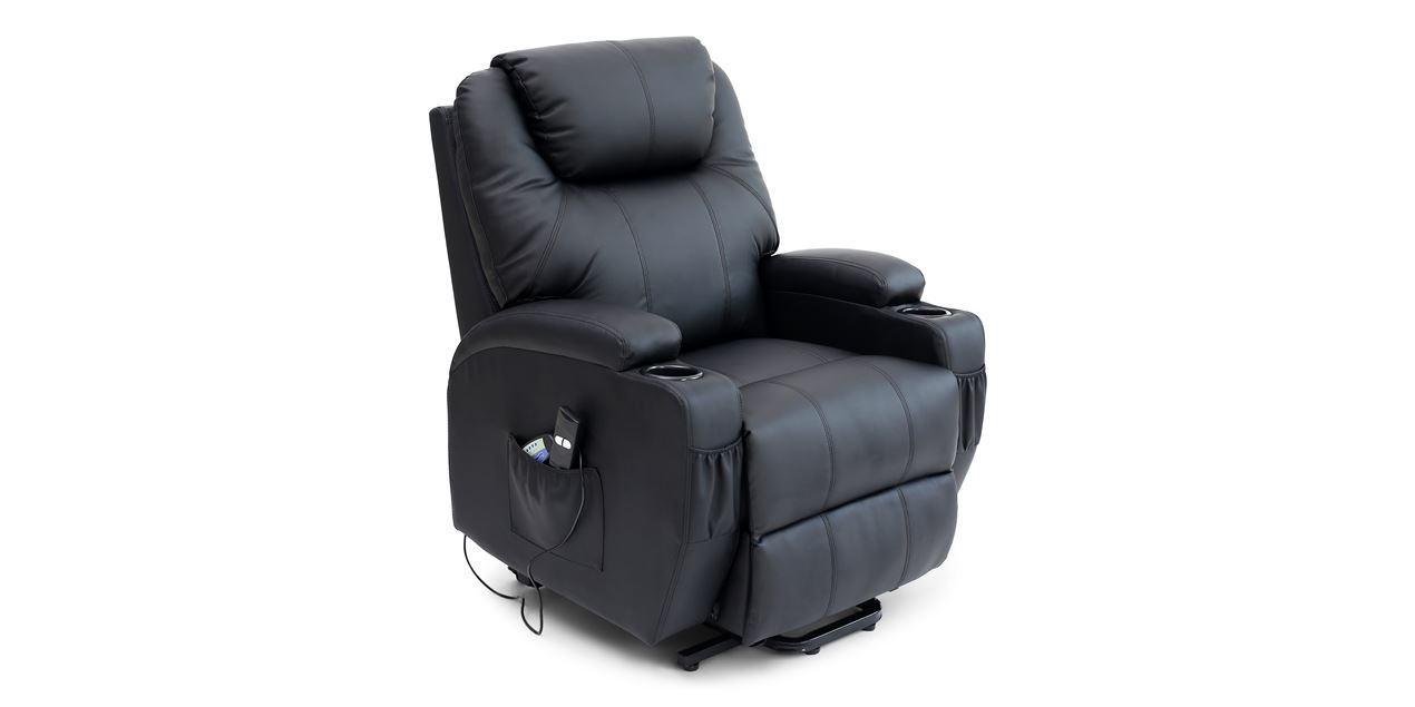 Cinemax Leather Rise Recliner Chair with Massage and Heat in Black IMG
