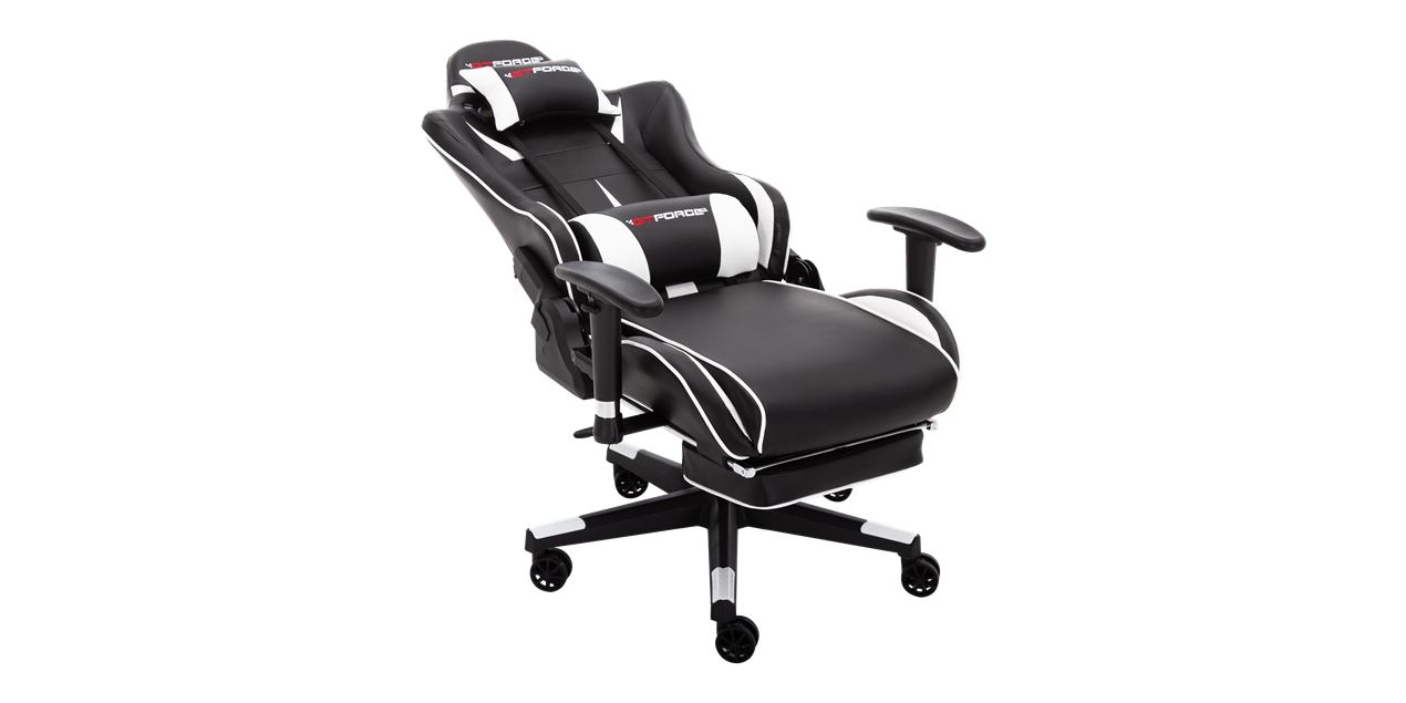 GTForce Formula RX Gaming Chair with Recline and Footrest in White IMG