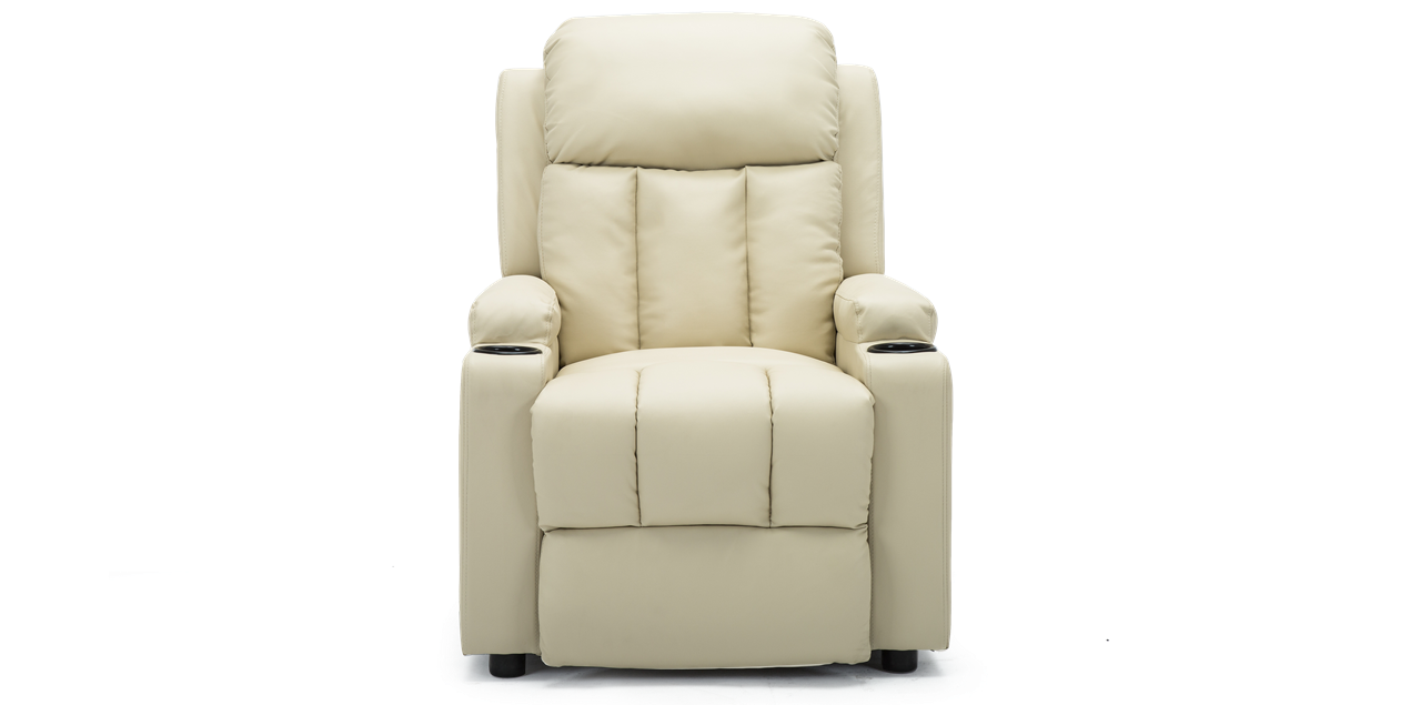 Excellent Attenborough Compact Push Back Leather Recliner Chair In Cream Andrewgaddart Wooden Chair Designs For Living Room Andrewgaddartcom