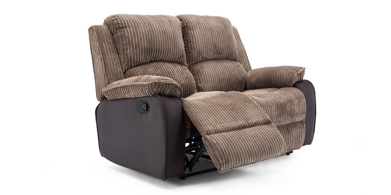 Keston Manual 2 Seater Recliner Sofa in Brown Jumbo Cord