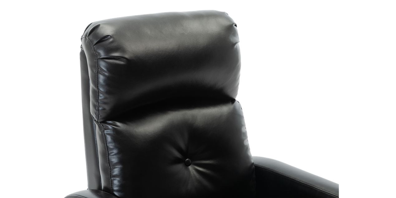 Milton Faux Leather Push Back Recliner Chair in Black IMG