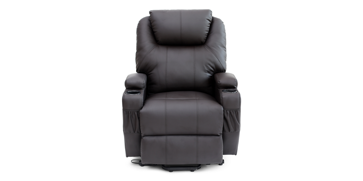 Fine Cinemax Leather Rise Recliner Chair With Massage And Heat In Brown Inzonedesignstudio Interior Chair Design Inzonedesignstudiocom