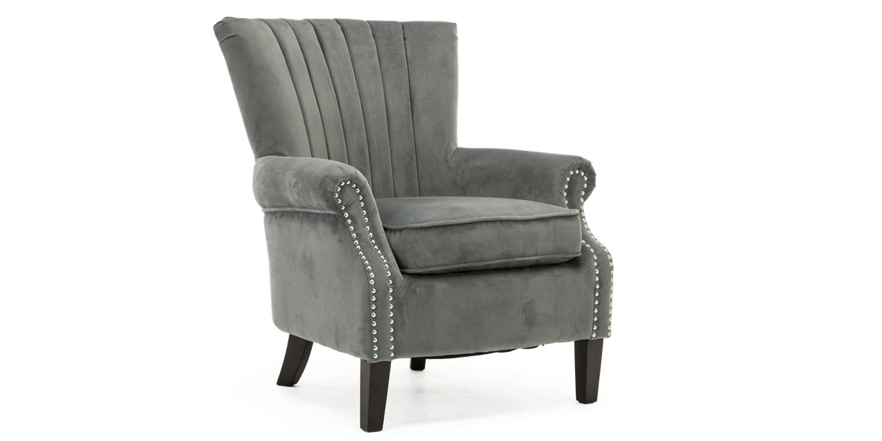 Orlenca Accent Chair In Grey Velvet