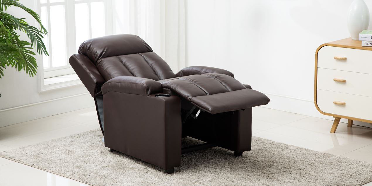 Attenborough Compact Push Back Leather Recliner Chair in Brown IMG