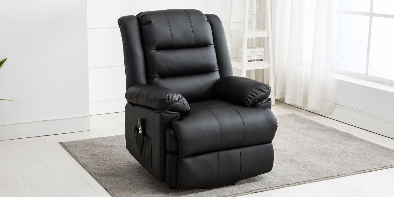 Wilson Dual Motor Rise Recliner Leather Chair in Black IMG