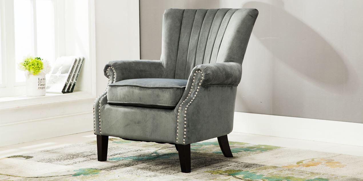 Orlenca Accent Chair In Grey Velvet