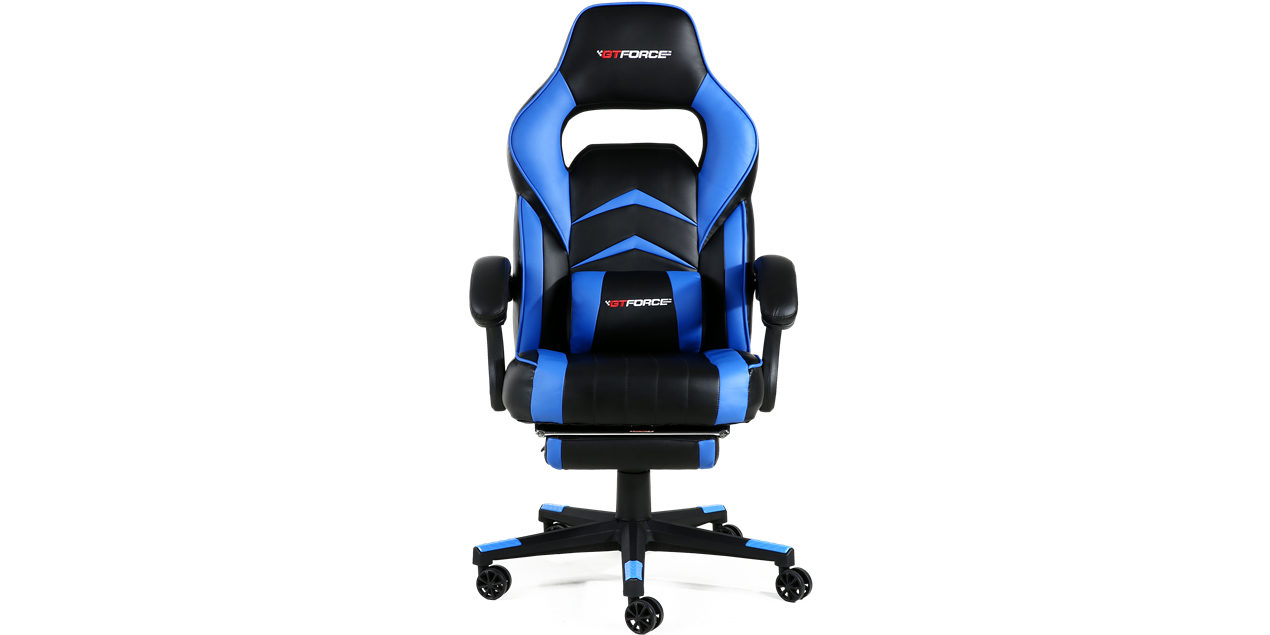 GTForce Turbo Gaming Chair with Recline and Footrest in Black and Blue IMG