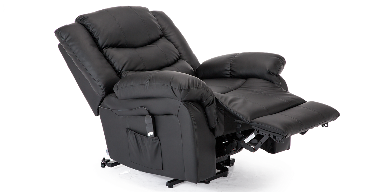 Cheshire Leather Rise Recliner Chair in Black