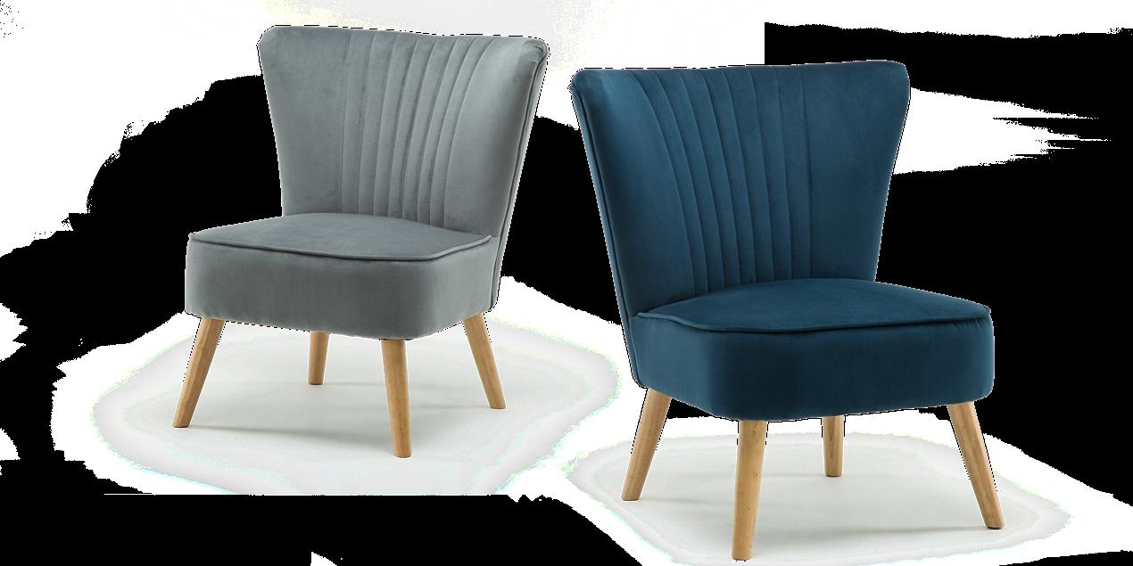 Lydia Accent Chair In Grey Velvet